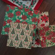 VTG Set 4 Collectible Christmas Gift Boxes Holly Berry Poinsettias Trees~Hankie
