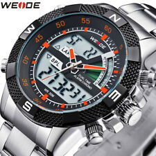 WEIDE Men's Sport Watch LCD Day Date Alarm Stainless Steel Quartz Wristwatches