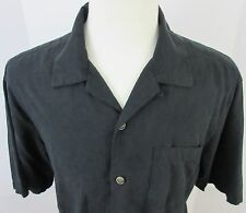 TOMMY BAHAMA Mens Size M Black 100% Washable Silk Hawaiian Aloha Shirt Floral