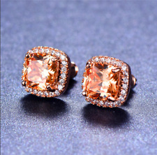 4 ct Halo Cushion Cut Halo Morganite Womens Stud Earrings 14K Rose Gold Finish