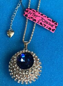 """Designer Jewelry Necklace Betsey Johnson Huge Blue Stone Gold Chain 28-30"""" NWT"""