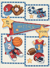Cross Stitch Kit ~ Dimensions Little Sports Items Baby Birth Record #73256