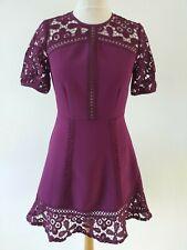 ASOS SIZE 8 MAGENTA / BURGUNDY LACE DETAIL DRESS