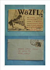 QSL RADIO CARD STAZIONE W8ZFL/MM NAVE BARTLESVILLE VICTORY RAY HAGERTY USA 1947