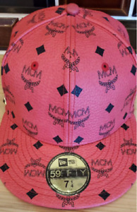USED MCM x New Era Limited Collaboration Cap 59FIFTY 7 1/4 Color Red