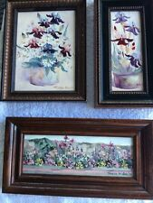 Lot of 3 Miniature Oil Paintings By Teresa W Davis Flowers & Flower Gardens