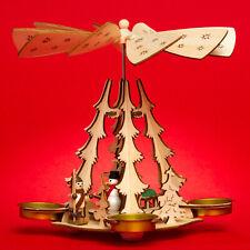 SIKORA P29 Modern Wooden Christmas Pyramid Tea Lights Winter Snowman Decoration