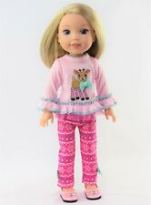 """Pink Reindeer Snowflake Pant Set Fits Wellie Wishers 14.5"""" American Girl Clothes"""