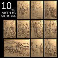 3d stl model cnc router artcam aspire 10 pcs panno collection basrelief myth №3