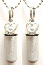 Set of 2 Brushed Silver Open Heart Cremation Urn Necklaces w/Pouches & Fill Kit