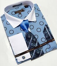 Men's Henri Picard French Cuff Dress Shirt Blue Tie Hanky Set FC138B