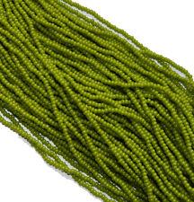 Olive Green Opaque Czech 8/0 Glass Seed Beads 12 Strand Hank Preciosa