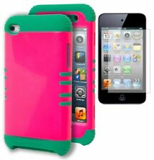 iPod Touch 4 Case, Hybrid Teal Silicone + Hot Pink Hard Cover +Screen Protector