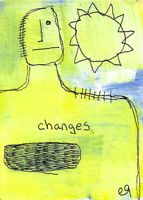 20121312 e9Art ACEO Abstract Figurative Minimalism Outsider Art Painting Brut