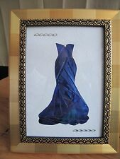 Original Iris Folding Picture with Frame - Elegant Blue Evening Gown