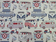 Happy Campers VW Camper Van Scooters Nautical Blue Red Cotton Fabric