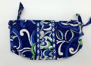 Vera Bradley MEDITERRANEAN BLUE Long Cosmetic Bag Zip Pouch Lined Bow Tie VGC