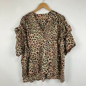 Country Road Womens Top Size 16 Multicoloured Animal Print Short Sleeve V-Neck