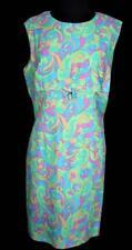 Raro Vintage Francés 597ms-600ms Coloridos Mod Estampado Poliéster Vestido