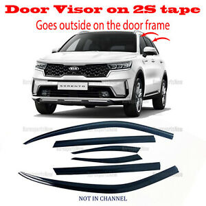 SMOKED DOOR WINDOW  VENT VISOR DEFLECTOR 2S TAPE ⭐6pcs⭐ KIA SORENTO 2021