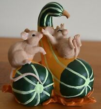 """Charming Tails Fall Season """"Gourd Slide, Mice Playing On Gourds"""" Mib"""