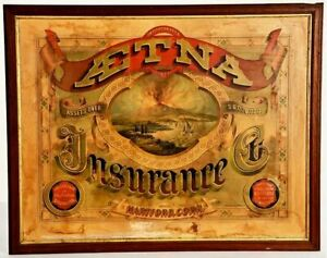 ca1874 CHROMOLITHOGRAPH AETNA INSURANCE COMPANY ADVERTISING SIGN By STROBRIDGE