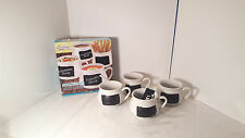 Fine Life Ceramic Soup Mugs with Chalkboard White Set of 4
