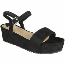 Womens Strappy Wedges Ladies Faux Suede Platform New Mid Heel Wedge Shoes Size
