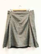 Scanlan Theodore Size 8 Grey Silver Check Strapless Long Sleeve Women's Top