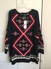 Ralph Lauren Boatneck Cotton Tunic Sweater Womens Black Multi Geometric NWT 2X