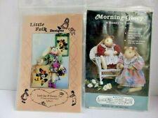 Bunny Doll Patterns-Morning Glory & Little Folk Design Folk Art Lot (2) Crafts