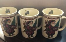 Vintage 1991 Kris Kringle 3 Set Of Coffee Christmas Mug Cream Color