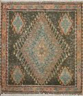 Antique Geometric Tribal Abadeh Area Rug Hand-knotted Wool Oriental 2'x2' Square