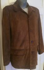 Vintage J Crew Men's Suede Leather Basic Jacket XL 5 Buttons Quilted Lining