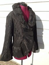 Jerry T Fashion Ladies Avant Garde Black Coat Jacket - Small S