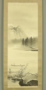 橋本雅邦 HASHIMOTO GAHO Hanging scroll / FISHING BOAT IN RIVER LANDSCAPE Box I953