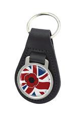 Poppy Union Jack Round Black Leather Keyring