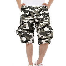 4614fba06118 Men Military Camouflage Cargo Shorts Bermuda Outdoor Work Army Loose Baggy  Pants Black and White Camo