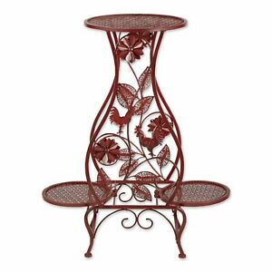 Iron Red Rooster Hourglass Triple Greenery Plant Stand Indoor Outdoor Décor