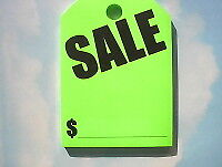 ~FreeShipping CAR DEALER 50 REAR VIEW MIRROR HANGING WINDOW CARD TAGS SALE Green