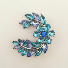 New Aqua Blue Moon Crescent Flower Wedding Party Crystal Brooch Pin BR1297 Gift