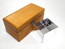 "PRECISION QUARTZ OPTICAL BLOCK / CUBE 4.25 x 3.75 x 3.25"" w/ WOOD STORAGE CASE"