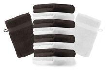 10er Pack Waschhandschuhe Premium Farbe: Weiß & Dunkelbraun, Größe: 17x21 cm