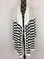 Chicos Womens Cardigan Sweater Size 3 XL Striped Open Front Draped 3/4 Sleeve