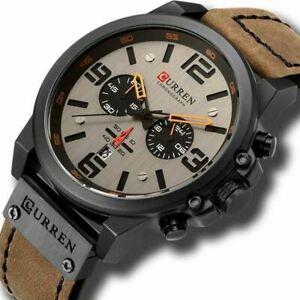 CURREN Mens Luxury Sport Watch Date Chronograph Quartz Leather Strap Wrist Watch