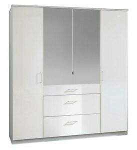 Clack 4 door White Wardrobe with Mirror and Drawers