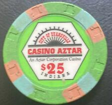 $25 CASINO CHIP - CASINO AZTAR EVANSVILLE, INDIANA RIVERBOAT CASINO RHC Lt Green