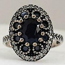 Deco 1.95ctw Blue & White Sapphire 14K Yellow Gold 925 Sterling Silver Ring Sz 7