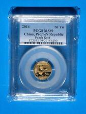 2014 Gold Panda 50 Yn 1/10th oz. MS69 China, People's Republic PCGS