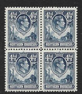 N.RHODESIA, KGV1, 1938 4 1/2d  BLUE,  SG 37  MNH BLOCK 4, CAT 13 GBP